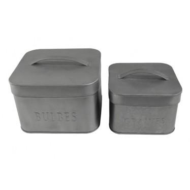 Set 2 cajas cuadradas zinc