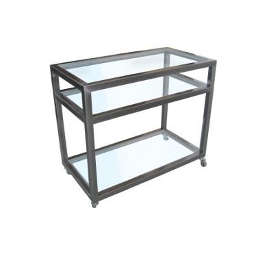 Carrito Tv hierro pulido + cristal