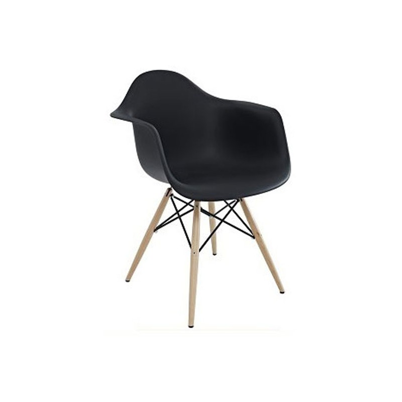 Sillón ABS negro / madera