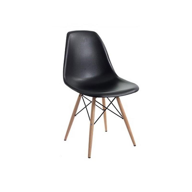 Silla ABS negra / madera