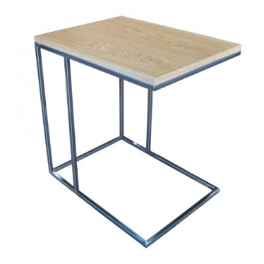 Mesa bandeja hierro pulido / roble