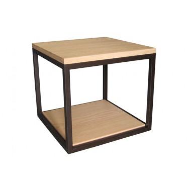 Mesa auxiliar Cubo hierro roble natural