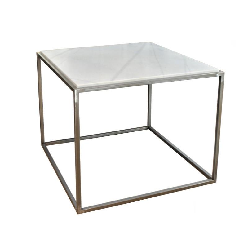 Mesa Cubo con mármol embutido
