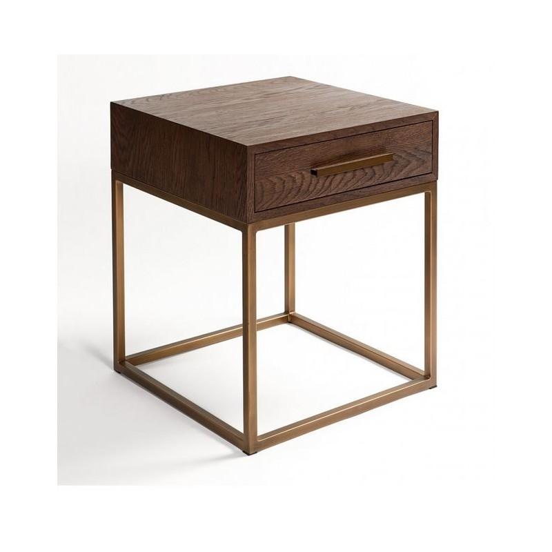 Mesa auxiliar madera y hierro