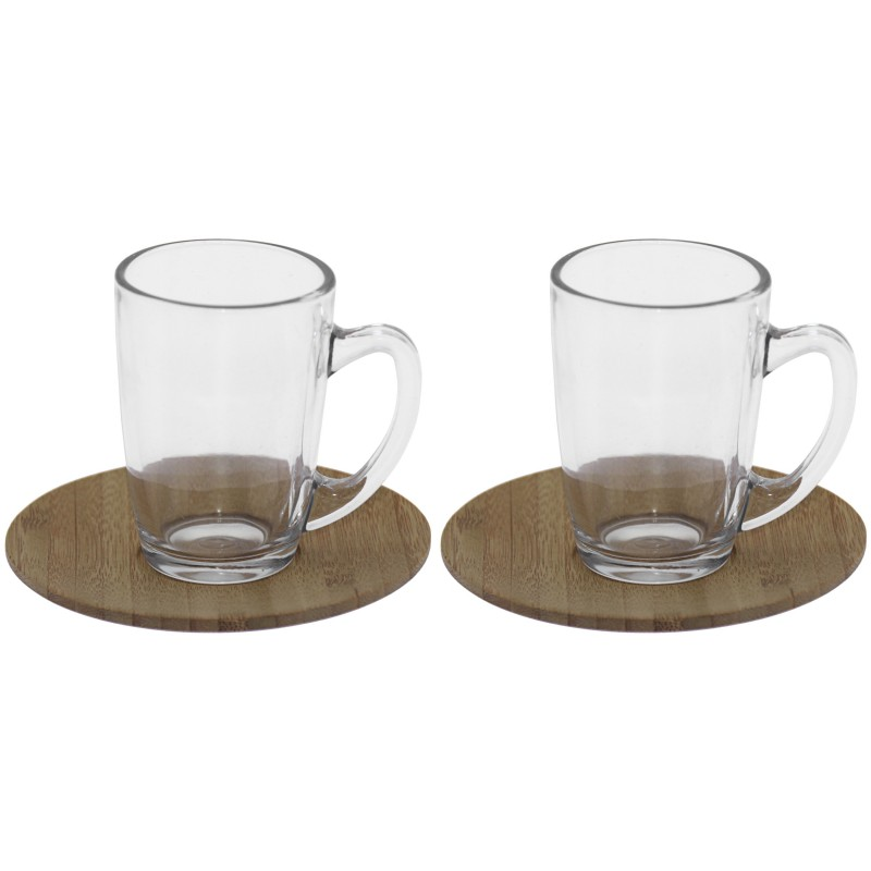 Set 2 tazas café cristal